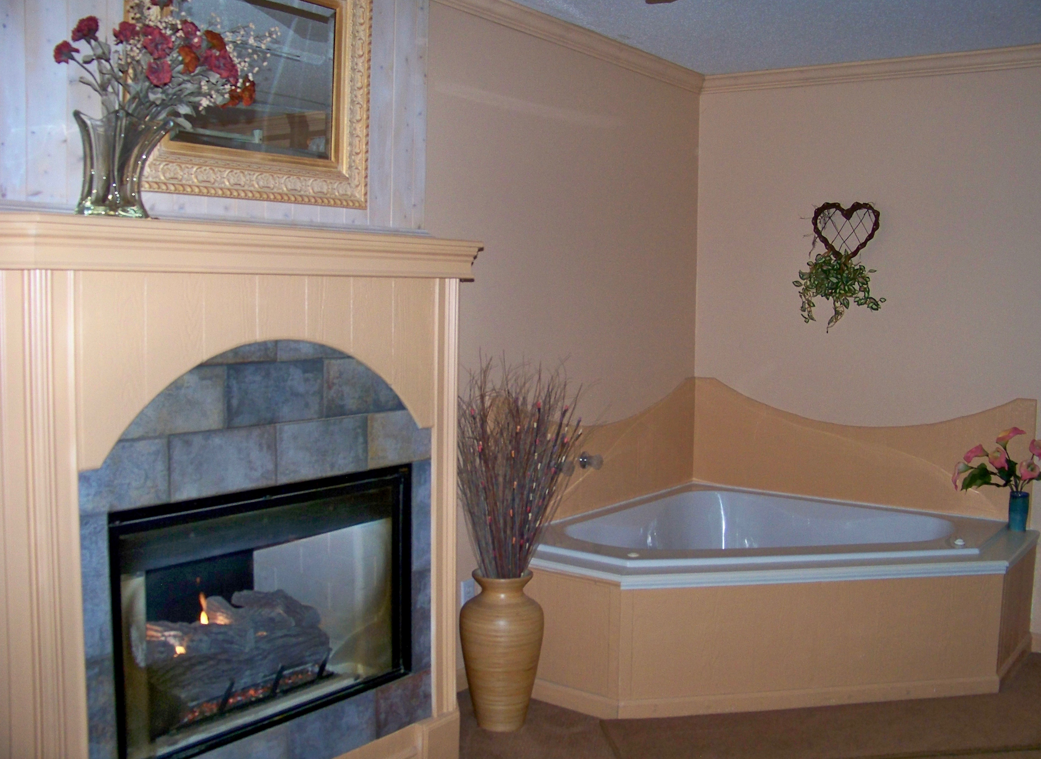 7 whirlpool tub and fireplace in bedroom