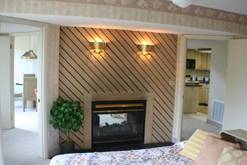 Gas fireplace in your Gatlinburg Chalet rental. at A Great Escape Chalet in Gatlinburg TN