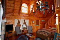 14 Cabin Fever living room with gas fireplace and cable tv
