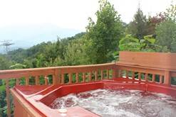 Gatlinburg chalet rental with a hot tub.