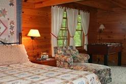 Spacious private bedroom in your Gatlinburg cabin rental. at Cabin Fever in Gatlinburg TN