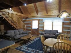 Gatlinburg log cabin with spacious living room at Gone Fishing in Gatlinburg TN