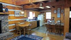 fully equipped kitchen in a 3 bedroom log cabin in Gatlinburg tn at Gone Fishing in Gatlinburg TN