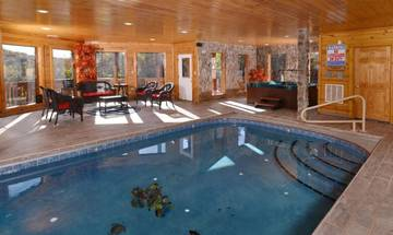 Private pool cabin rental in Pigeon Forge across from Dollywood.