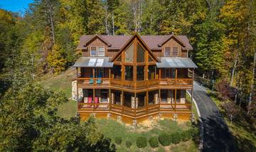 Arial view of your Dollywood cabin, walk to the parking lot and catch the Dollywood tram.