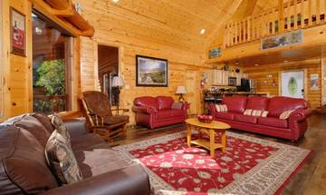 Open view of this cabin's large living room.