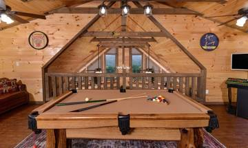 Play endless games of pool with the family and take in views of the Smokies from the panoramic windows.