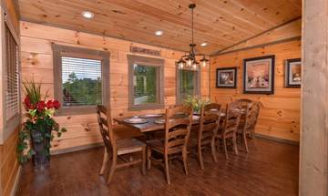 Large dining table and breakfast bar provides plenty of space for eating large family meals over the holidays.