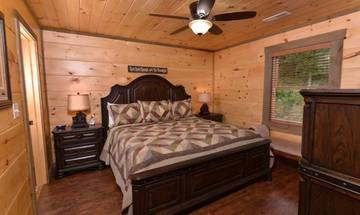 One of your rental cabin's relaxing king sized beds.
