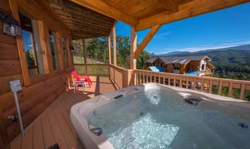 Your rental cabin's hot tub, great in the early morning, mid day or later in the evening as you view the sunset over the Tennessee Smokies.
