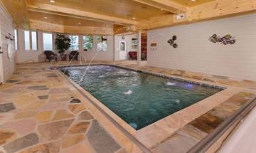 Pigeon Forge cabin rental with private indoor swimming pool.