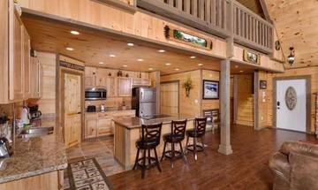 Your rental cabin's open floor plan lets you take in those spectacular Smoky Mountain views from almost anywhere.