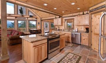 Your rental cabin's fully quipped kitchen and center island.