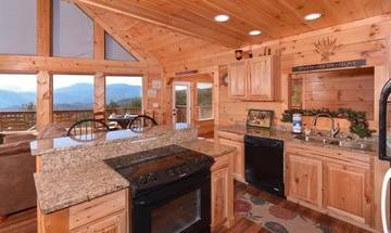 Fully equipped rental cabin kitchen for the holidays.