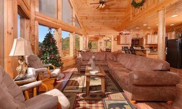 Relaxing log cabin atmosphere sure to add to your Smoky Mountains vacation.