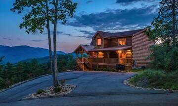Dusk settles over your Smoky Mountain cabin getaway.