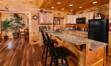 Cabin's breakfast bar for added seating.