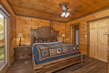 Rental cabin master bedroom on the main floor of The Appalachian.