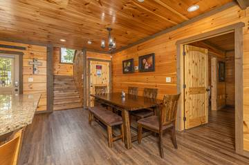 Smoky Mountains cabin dining area and breakfast bar.