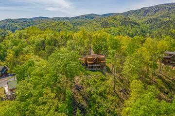 Arial shot of your 5 bedroom cabin getaway in the Smokies.