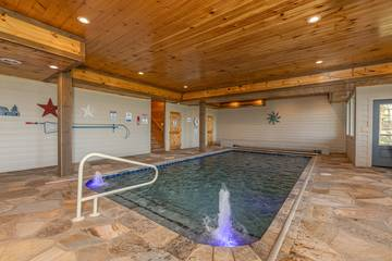 Smokies cabin rental with private indoor swimming pool.