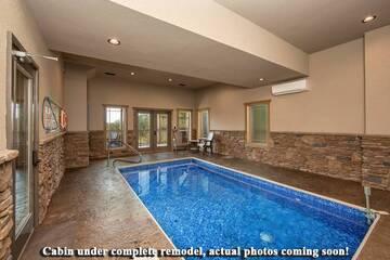 Enjoy the private indoor swimming pool at Splashin in the Smokies rental cabin.
