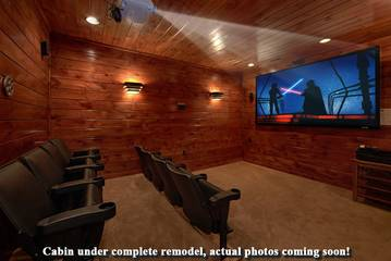 Splashin in the Smokies rental cabin will have a private theater.