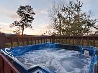 Relaxing hot tub on the quiet peaceful deck