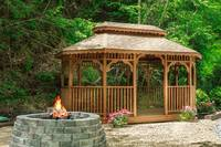 Gazebo and firepit down by the lake - just a short walk and shared with other cabins