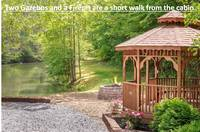 Gazeebo beside lake is just a short walk and shared by all 14 cabins