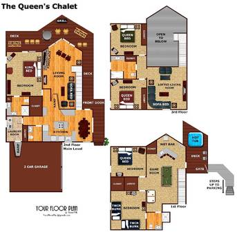floor plan at The Queens Chalet in Gatlinburg TN